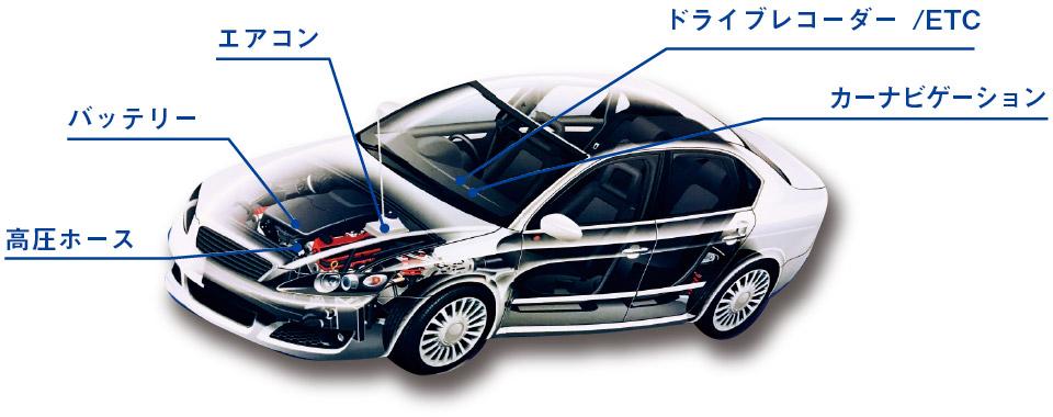 高圧ホース、バッテリー、エアコン、ドライブレコーダー、ETC、カーナビゲーション